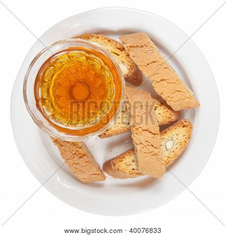 Sweet White Wine And Italian Almond Cantuccini Top View