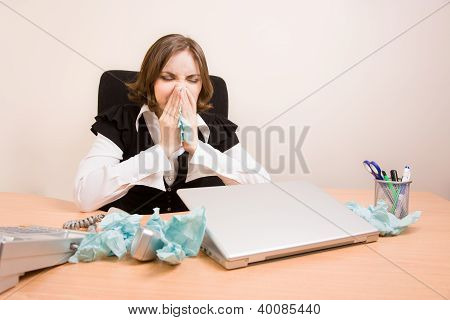 Businesswoman Crying At Office