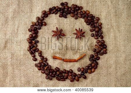 Cheerful smiley of coffee beans