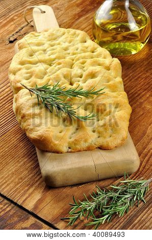 Focaccia With Rosemary, Olive Oil And Coarse Salt