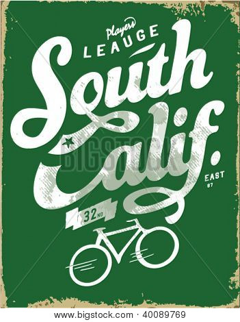 handmade bicycle sketch with wording for apparel.