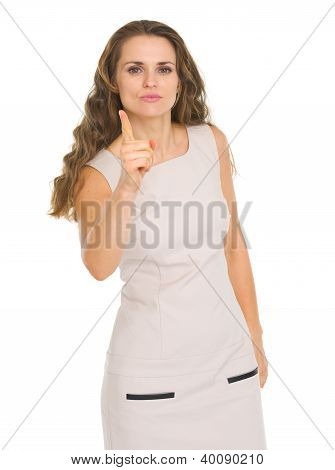 Serious Young Woman Threatening With Finger