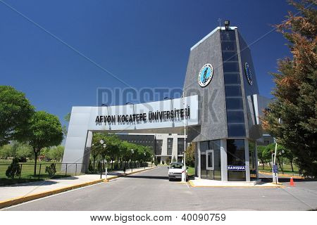 Entrance Of Afyon Kocatepe University, Afyonkarahisar, Turkey