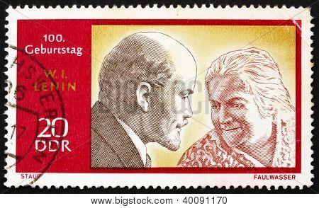 Postage Stamp Ddr 1970 Lenin And Clara Zetkin