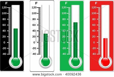 Red, Black, White And Green Thermometers Set Isolated