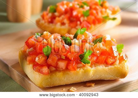 Bruschetta  On Wooden Board