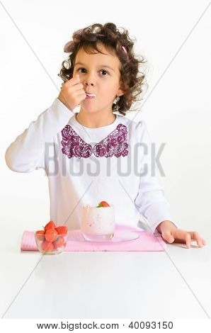 Little Girl, Yoghurt And Strawberry