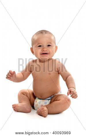Hispanic baby sitting aisladas sobre fondo blanco