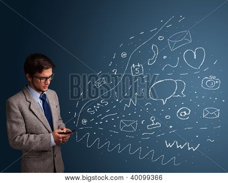 Young boy typing on smartphone with various modern technology icons and symbols