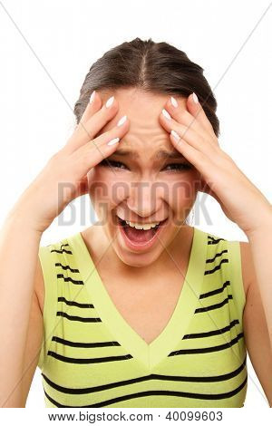 Young woman with head pain over white background