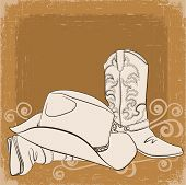 Cowboy Boots And Hat.vector Grunge Background For Design