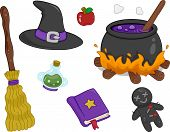 Illustration of Different Witchcraft Items Design Elements