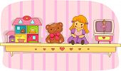 picture of rag-doll  - Illustration of a Shelf Holding a Teddy Bear - JPG