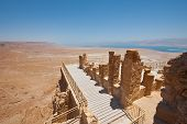 stock photo of masada  - View to the Dead Sea from the Ruins of the Fortress Masada Israel - JPG