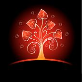 image of valentines day card  - Decorative card with hearts tree for Valentine day - JPG