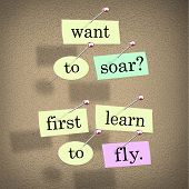 The saying Want to Soar, First Learn to Fly on pieces of paper pinned to a bulletin board, a motivat