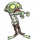 picture of undead  - Cartoon illustration of a ghoulish undead green zombie in tattered clothing with a skull - JPG