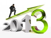 stock photo of happy new year 2013  - High resolution conceptual 3D 2013 year with a growing arrow isolated on white background with a business man surfing - JPG