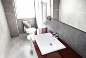 stock photo of lavabo  - Red bathroom with toilette bidet heater lavabo and mirror on high contrast - JPG