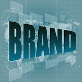 Marketing Concept: Words Brand On Digital Screen poster