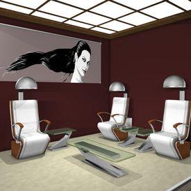 pic of beauty salon interior  - 3 D Render of an Hair Studio - JPG
