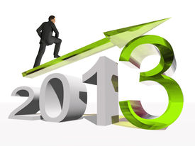 pic of happy new year 2013  - High resolution conceptual 3D 2013 year with a growing arrow isolated on white background with a business man surfing - JPG