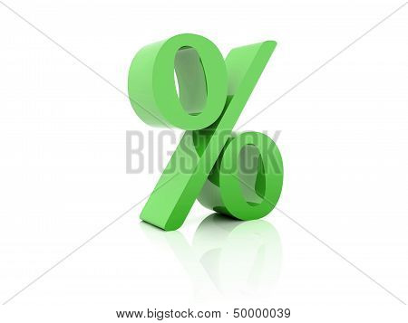 Percent. Green on white background.