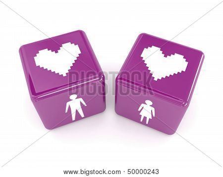 Two hearts male and female figures on dices.