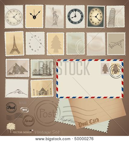 Vector set: Vintage stamp designs, envelope and postcard.