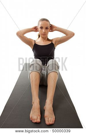 woman exercising, isolated on white