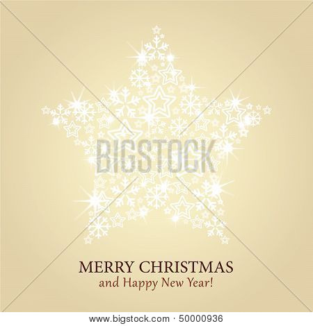 Christmas card vector - gold background with sparkling star