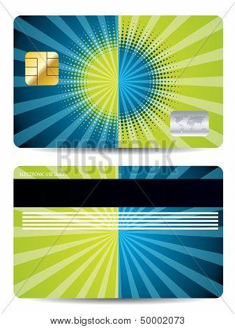 Halftone With Burst Credit Card Design