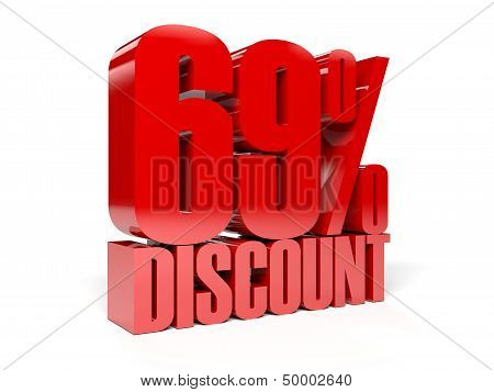 69 percent discount. Red shiny text. Concept 3D illustration.