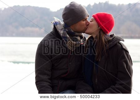 A Sweet Young Couple Kissing