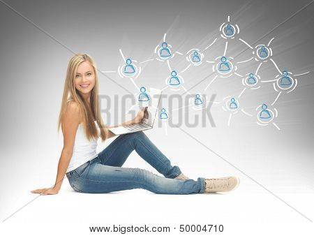 education, technology, internet and networking concept - student with laptop, virtual screen and contact icons