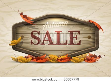 Vector realistic illustration of autumn sale wooden signboard. Elements are layered separately in vector file.