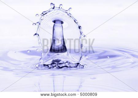 Beautiful Blue Water Fountain Splash