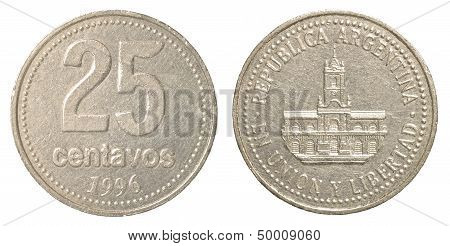 25 Argentinian Peso Centavos Coin