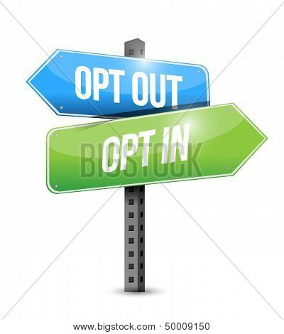Opt In, Opt Out Road Sign Illustration Design