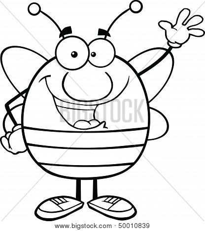 Black And White Pudgy Bee Cartoon Character Waving For Greeting