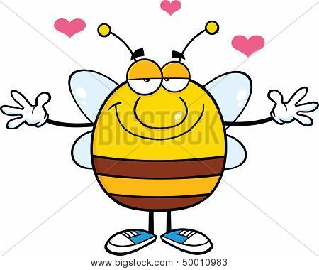 Smiling Pudgy Bee Cartoon Character With Open Arms For Hugging