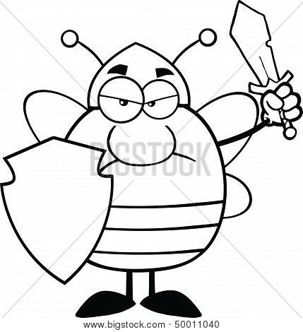 Black And White Angry Pudgy Bee Warrior With Shield And Sword
