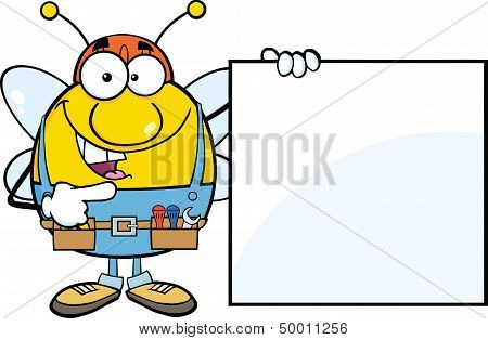Pudgy Bee Worker Showing A Blank Sign