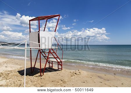Empty Lifeguard Tower Chair