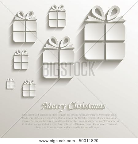 vector christmas gift natural paper 3D