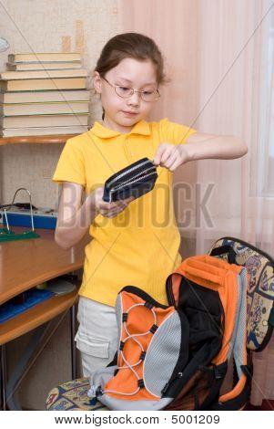 Girl Closing Pencil Case