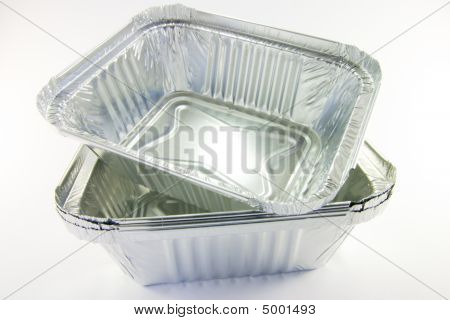 stack of square catering trays on a white background