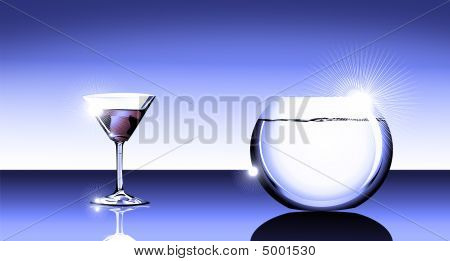 Cocktail Glass And Fishbowl