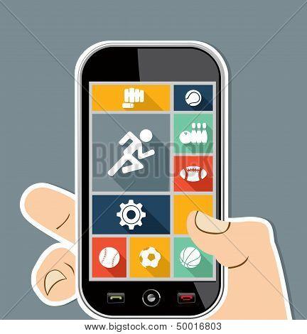 Menschliche Hand Mobile bunte Sport Ui Apps Flat Icons.