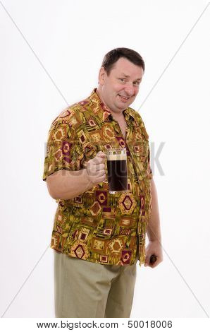 Bouncy beer man in a colored shirt